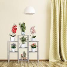 blumentreppe holz shabby chic innenbereich wohnzimmer pflanzenregal 7 ablagen hbt 86 x 95 x 29 cm grau
