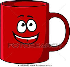 Clipart Of Red Cartoon Coffee Mug With A Happy Face K18658033