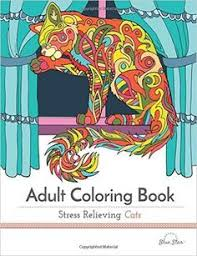 Adult Coloring Book Stress Relieving Cats Blue Star 9781941325209 Amazon