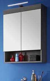spiegelschrank bad 60 cm grau rauchsilber badmöbel spiegel mit ablage led runner ebay