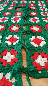 Crocheted Christmas Tree Skirt 46 Square Handmade Red White Green Holiday Decor Hover To Zoom
