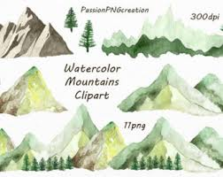 Watercolor Mountains Clipart PNG Hand Painted Watercolour Mountain Clip Art Hills