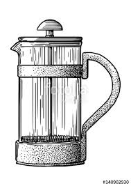 French Press Pot Coffee Maker Illustration Drawing Engraving Ink Line Art