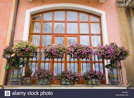Flowers On Typical Apartment Balcony Taormina Sicily Italy