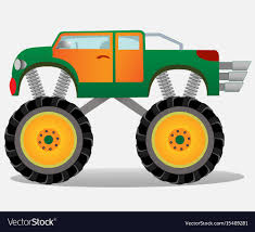 100 Big Monster Truck Truck With Big Wheels Car Vehicle In Vector Image
