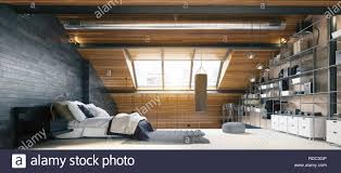 moderne loft schlafzimmer innenraum 3d rendering design