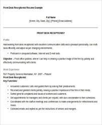 Front Desk Receptionist Curriculum Vitae by Receptionist Resume Objective 7 Examples In Word Pdf
