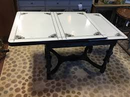 Vintage Enamel Top Kitchen Table w Extension
