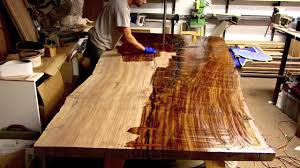 finishing a massive claro walnut slab table live edge youtube