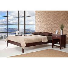 solid wood tapered leg queen size platform bed by domusindo