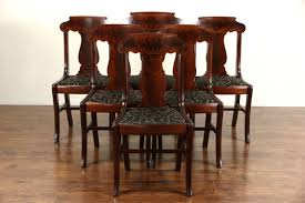 Set Of 6 Antique 1900 Mahogany Empire Dining Chairs New Upholstery Signed