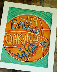 SPORTS ARTPrint Of My Original Basketball Art With Hand Painted Info