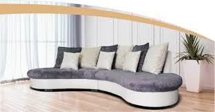 canape arondi canapé demi lune arrondi tissu avec coussins dossier