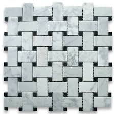 carrara basketweave mosaic tile white 12 x12 modern wall