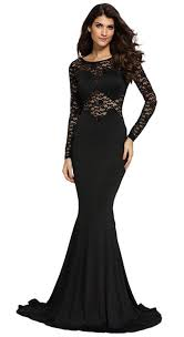com cfanny women u0027s lace sleeves mermaid prom evening dress clothing