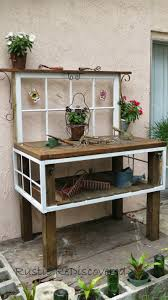 Rustic ReDiscovered Vintage Garden Potting Bench Made From Old Window And Table Pieces