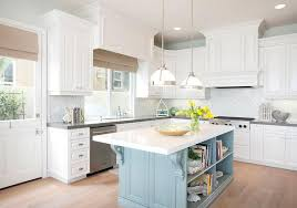 White Kitchen With Turquoise Blue Island