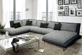 canape gris design canape d angle gris et noir canapac dangle en cuir vacritable 3p