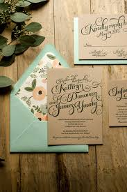 Rustic Wedding Invitation Mint Kraft Letterpress