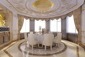 Best Italian Dining Room Curtains On Bay Windows For Extra Large Spaces With Luxury Gypsum Ceiling And Round Table Sets
