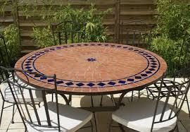 table ronde mosaique fer forge table jardin mosaique ronde 130cm terre cuite et losanges 1 étoile