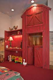 Do You Live In The City But Have A Child That Belongs On Farm No Problem This Barn Themed Room Leaves Place To Study Watch TV Hidden At Top Of