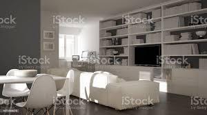 modernes wohnzimmer mit arbeitsplatzecke großes bücherregal und esstisch minimale weiße architektur innenarchitektur stockfoto und mehr bilder