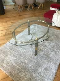 2x wohnzimmer glastisch couchtische mit messing edelstahl rahmen