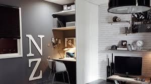 bureau discret espace bureau dans salon décoration de maison contemporaine