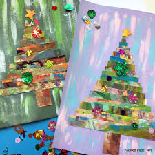 Festive Trees Painted Paper Art Learning Arts And Crafts