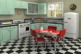 A Bright Red Formica Tabletop Highlights This 1950s Style Kitchen