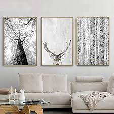 de moderne graue wand kunst weißer baum leinwand
