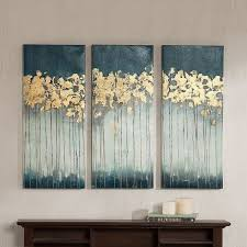 Madison Park Midnight Forest Gel Coat Canvas 3 Pc Wall Art Set Turquoise