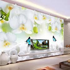 3d nach wandbild foto tapete weiß orchidee schmetterling blumen tapeten wandbilder wohnzimmer tv sofa hintergrund papel de parede
