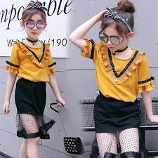 2017 Summer New Europe Style Girls Fashion Clothing Suit Children Chiffon Clothes 2 Pcs Kids Ruffles