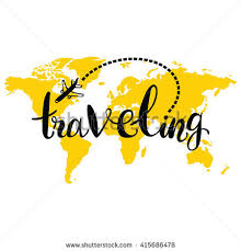 Traveling World Map Airplane Isolated Vector Object On White Background Lettering