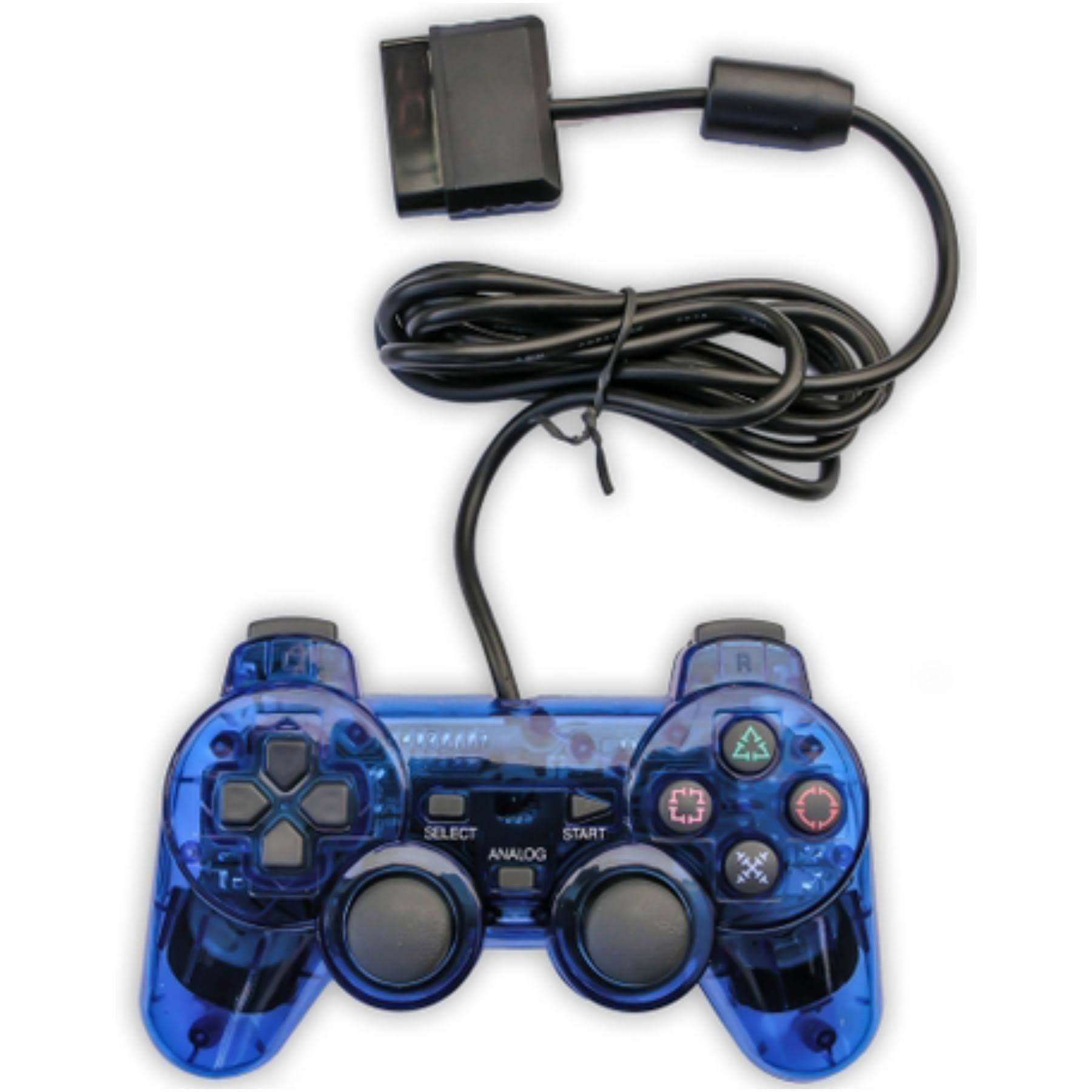 Old Skool PS2 Analog Dual Shock Controller - For Sony PlayStation 2, Blue