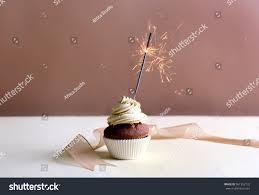 Birthday Cupcake Sparkler Beige Background Stock Shutterstock