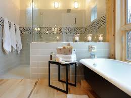 Guest Bathroom Wall Decor With Mosaic Tile And Towel Hangers Also Freestanding Bathtub Full