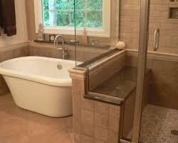 Master Bath Rug Ideas by Glass Shower Room Beside Corner Bathtub And Brown Veneered Plywood