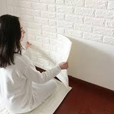 Imitation PE Foam Self Adhesive Brick Pattern Wallpaper Soft Pack TV Sofa Background Living Room Bedroom Study Office Home Decoration 5 White