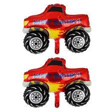 100 Monster Truck Decorations 2 Pcs Pickup Cart Shape Super Big Foil Balloon Birthday Party Supplies