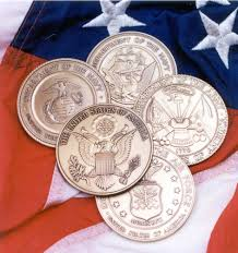 Military Service Coins For Flag Display Case