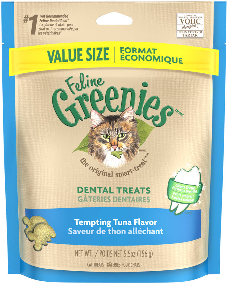 Feline Greenies Dental Treats for Cats - Tempting Tuna, 5.5oz