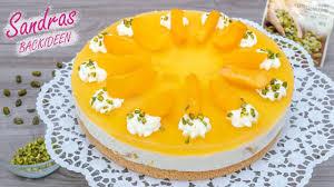 pfirsich quark sahne torte mit biskuitboden einfach und schnell rezept für 26 cm springform