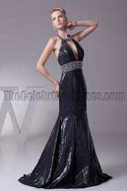 black sequined halter evening prom dresses thecelebritydresses