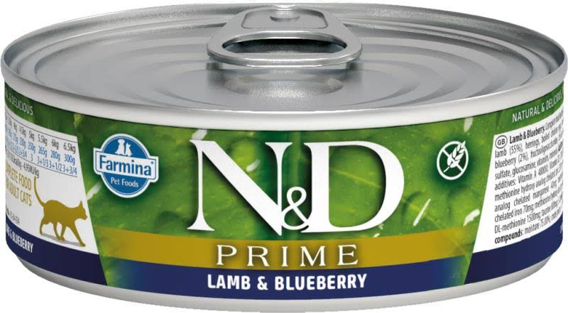 Farmina N and D Grain Free Prime Canned Cat Food - Lamb and Blueberry, 80g