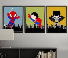 pick 4 prints super hero wall art boys room by amyssimpledesigns