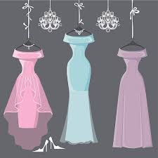 Fluffy Wedding Dresses Clip Art Vector & Illustrations