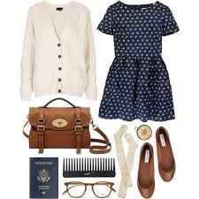 Blue Floral Print Dress Cream Top And Cable Knit Over The Knee Socks Be Perfect If Was Longer